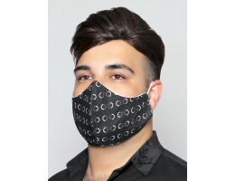 Black with White Circles - 100% Cotton Washable Mask