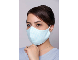 Light Blue With White Circles - 100% Cotton Washable Mask