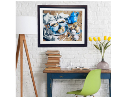 Framed Canvas Painting Coffee and Macaroon