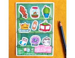 Lost & Found Shelves - Sticker Sheet