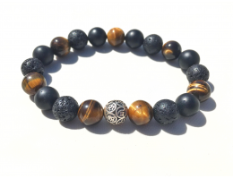 The Peaceful Warrior III	8mm AA Tiger Eye, Bian & Lava