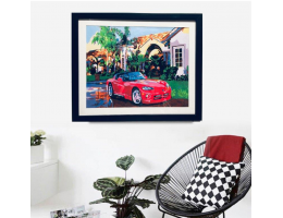 Framed Canvas Painting Sports Car and Villa