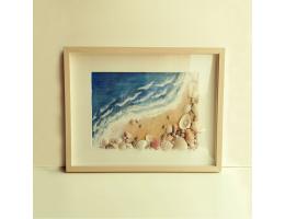 Beach waves and sea shells in a frame (Medium)