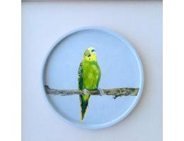 Handmade Concrete Platter with Acrylic Painting,30cm/36cm diameter
