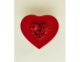 Red Velvet Heart Shaped Box with Red Roses (Small)