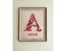 Pink Flower Letter Personalized Frame - Girls Bedroom Décor (Large)