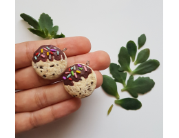 Polymer Clay Handmade Chocolate Dipped Cookie Charm